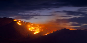 Burning Wildfire at Sunset