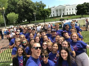 The 2019 Oregon Youth Tour delegates pause for a group photo in front of the White House.