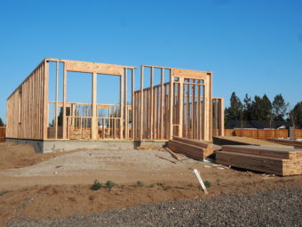 A new home in the framing process.
