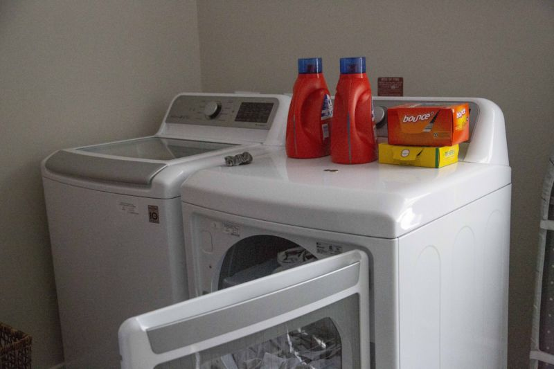 A typical electric washer and dryer.